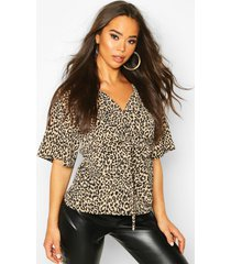 knot front woven leopard blouse, brown