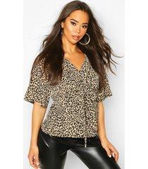 geweven blouse met knopen en luipaardprint, bruin