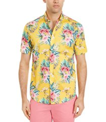 club room men's floral print short sleeve shirt, created for macy's