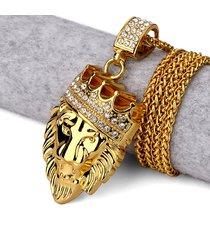 collana in oro per uomo con ciondolo in oro a forma di re con ciondolo a forma di testa d'oro