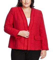 vince camuto plus size cotton tweed kiss-front jacket