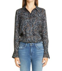 women's lafayette 148 new york scottie silk blouse, size xx-large - blue