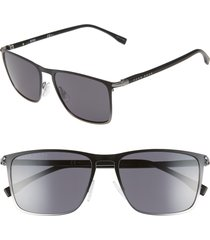 men's boss 56mm rectangular sunglasses - black ruthenium