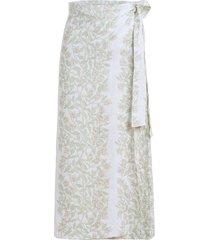 wrap skirt in beige bougainvillea