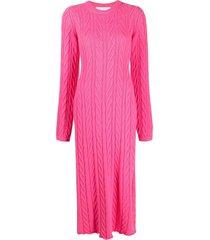 ami amalia cable-knit merino wool dress - pink