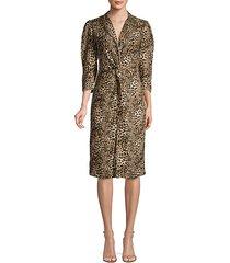 lynx-print short-sleeve ruffle silk dress