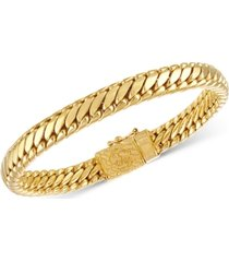 esquire men's jewelry heavy serpentine link bracelet in 14k gold-plated silver, also available in sterling silver, created for macy's