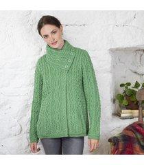 ladies one button merino aran cardigan green large