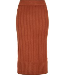 women's halogen ribbed sweater skirt, size xx-large - brown