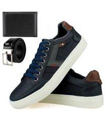 kit sapatênis casual sapatofranca com cadarço e mais cinto e mais carteira azul