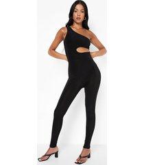 tall strakke jumpsuit met uitsnijding en eén blote schouder, black
