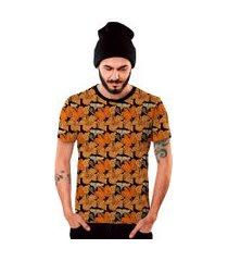 camiseta di nuevo floral  flores laranjas e amarelas laranja