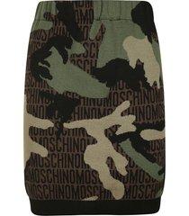moschino camo logo print skirt