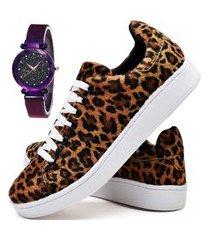 tênis sapatênis casual estampado durban com relógio luxury dubuy 249el branco