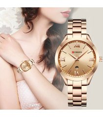 reloj dama curren elegante acero análogo fechador oro rosa