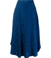 stella mccartney horse embossed print skirt - blue
