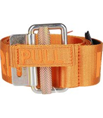 heron preston orange canvas tabe belt