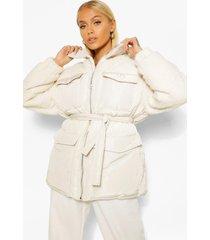 gewatteerde teddy jas met ceintuur en faux fur paneel, ecru