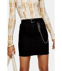 black vinyl chain belt - black