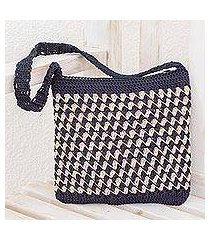 crocheted shoulder bag, 'zigzag textures in ivory' (guatemala)