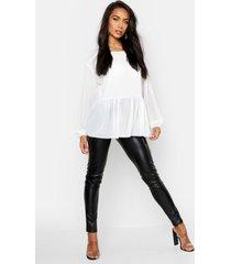 geweven gesmokte peplum blouse, wit