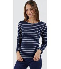 camiseta para mujer a rayas color azul, talla 10