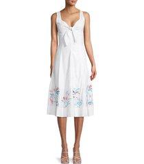 tanya taylor women's yolanda sweetheart-neck flare dress - white - size 10
