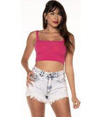 cropped salvatore top faixa comfy malha canelada rosa
