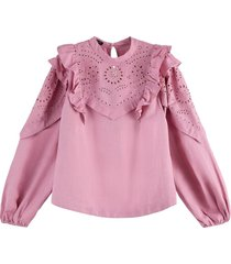 embroidered voluminous sleeved top