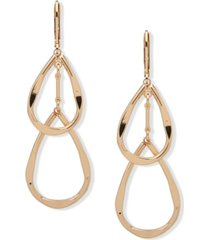 anne klein gold-tone double teardrop earrings