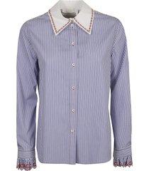 chloé stripe print ruffled cuff shirt