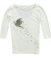 object shirt 3/4 mouw met glitterdraad en studs