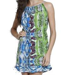 vestido com amarração frontal verde & azul