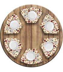jogo americano love decor para mesa redonda wevans quebra nozes natalino kit com 6 pçs