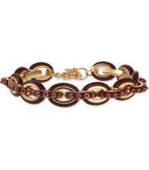 laundry by shelli segal gold-tone pave & enamel chain link bracelet