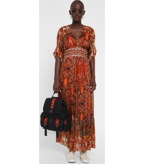 dress with african friezes - red - 46