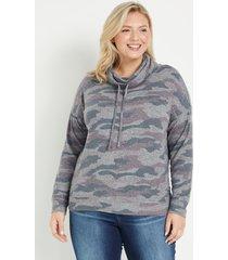 maurices plus size womens camo cowl neck cozy sweatshirt gray