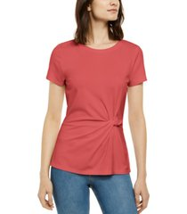 inc petite twist-front t-shirt, created for macy's