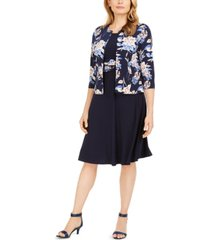 jessica howard petite floral-print jacket & ruched-waist dress
