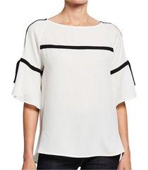 blouse tied slit sleeve contrast