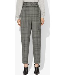 proenza schouler glen plaid belted tapered pant black/off white glen plaid/grey 2