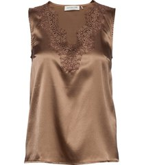 silk top blouse mouwloos bruin rosemunde