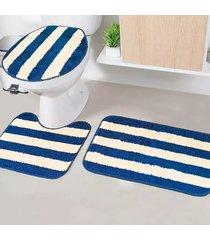 jogo de tapetes para banheiro tapetes junior tecil pop em poliéster topázio azul antiderrapante 3 peças