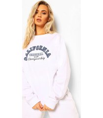 california varsity sweater met tekst, white