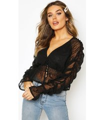 dobby chiffon ruched detail blouse, black