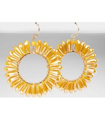 janelle crystal trim circle drop earrings - mustard