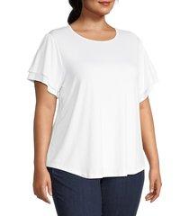 cooper & ella women's plus flutter-sleeve top - bright white - size 1x (14-16)
