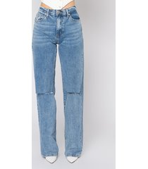 akira louise high waisted relaxed jeans with knee slits