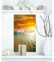 "designart 'amazingly colorful beach with footprints' seascape metal wall art - 12"" x 20"""