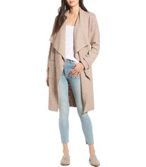 women's bb dakota revolution drapey boucle trench coat, size medium - beige